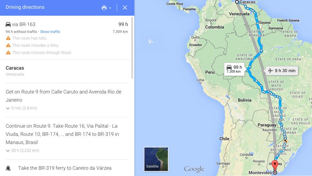 De Venezuela a Uruguay (Nivel Avanzado): Por Tierra