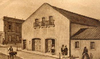 Casa de Comedias de Montevideo (c. 1838) Dibujo de Juan Manuel Besnes e Irigoyen