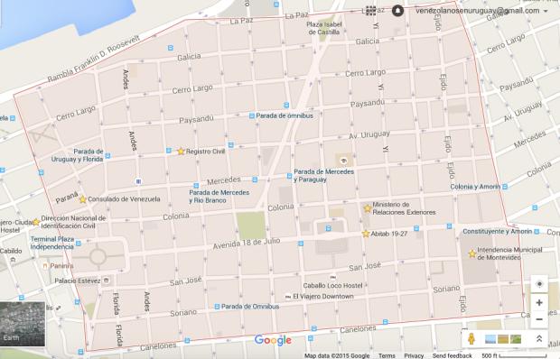 Al este de Centro esta Ciudad Vieja, al sur Barrio Sur y Palermo, y al oeste Cordon.